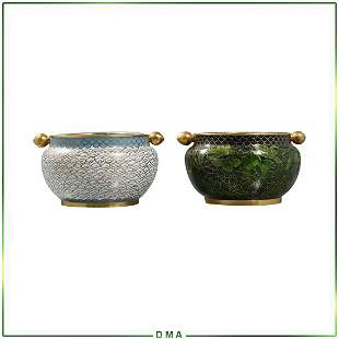 [2] Two Oriental Asian Jars with Tilting Top Covers