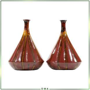 Pair Mid-Century Large Majolica Red Yellow Glazed Vases