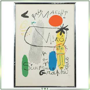 Jean Miro, Color Poster Give Maeght Sculpture, Graphics