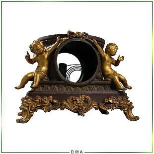 French Victorian Cast Metal Clock Case with Gold Putti