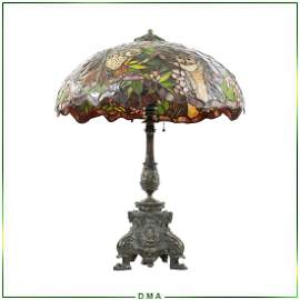 "TIFFANY STUDIOS NEW YORK ""Owl "" Leaded Glass Table Lamp"