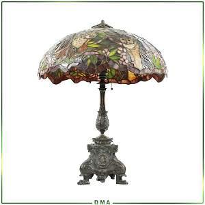 "TIFFANY STUDIOS NEW YORK ""Owl "" Leaded Glass Table Lamp"