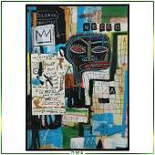Jean Michel Basquiat 1960-1988, Mixed Media Hardboard