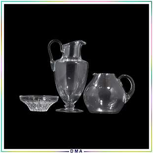 3 Assorted Signed BACCARAT Glass Bowl and 2 Pitchers