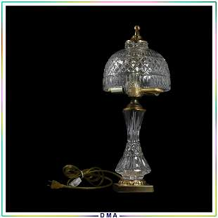 20th C. Crystal Glass and Brass Table Lamp