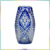 Exquisite Bohemian Cobalt Blue Cut to Clear Tall Vase