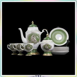 11 Pc. Royal Crown Roman Cameo Green Porcelain Tea Set