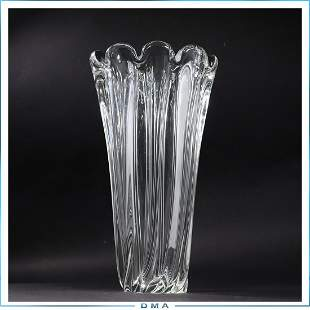 Quality Heavy Crystal Glass Flower Form Vase 14 inches