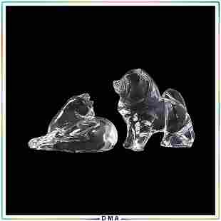 [2] Signed Baccarat Crystal Glass Cat and Dog Figures