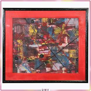Mid-Century Modern Multi Color Abstract Lines Painting
