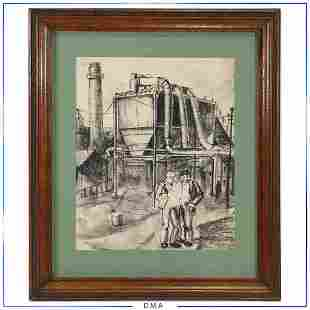 Vintage Industrial Era Charcoal Drawing Factory Workers