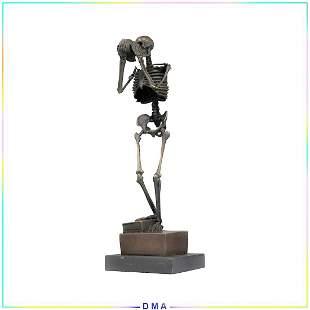 Carl Kauba, 20th C. Bronze Skeleton Figure Sculpture