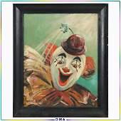 Marion Rich, 1950s Oil Painting Portrait of Happy Clown