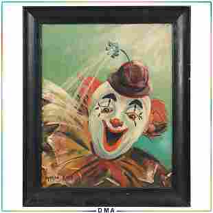 Marion Rich, 1950s Oil Painting Portrait of Happy Clown