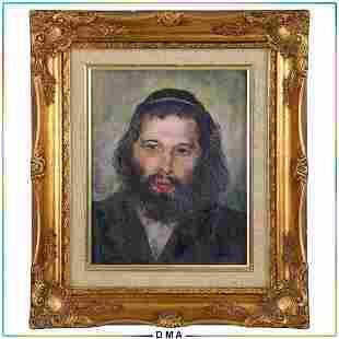 Vintage Oil Painting Portrait Rabbinical Man Gold Frame