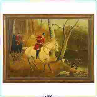 Circa 1930s English Hunt Scene Oil Painting Signed H H