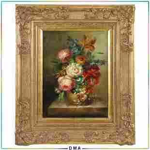 D Hone, 20th C. Flemish Style Floral Still Life Oil/c