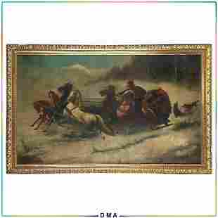 Kowalski, Large Oil/c Wolves Attacking Horses and Sled