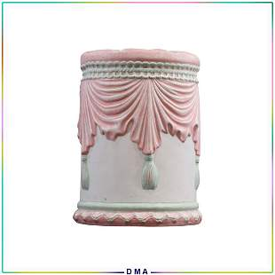Signed Alma White French Ceramic Vanity Stool Stand