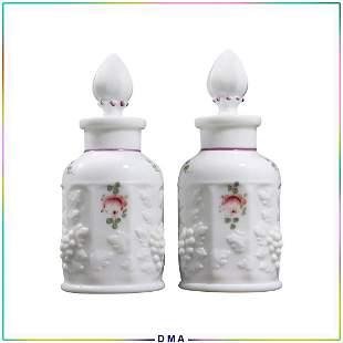 2 Milk Glass Cologne Bottles Embossed Grapes Pattern