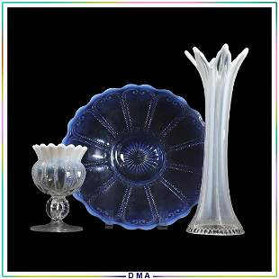 3 Assorted Opalescent Glass Vase, Compote & Plate