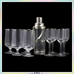 9 Pc. Chrome Glass Cocktail Shaker 8 Silver Rim Glasses