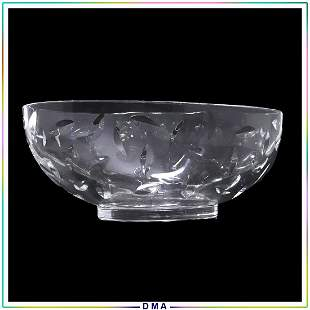 TIFFANY & CO Oval Crystal Glass Fruit Bowl, Signed