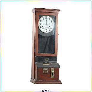 Antique International Factory Time Clock - Complete