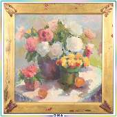 Phyllis Meyer 1931-2005, Colorful Still Life Oil/c