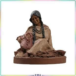 Nantahala and Little Bear Indian Statue Tom Clark 1985