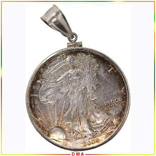 Standing Liberty 2000 US Silver Dollar Coin Pendant