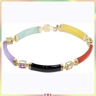 .925 Sterling Bracelet with Citrine Black Onyx Amethyst