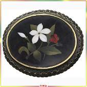 14K Gold Brooch with Fine Pietra Dura Inlay Flowers