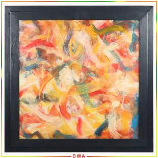 after De Kooning; Abstract Oil on Board Painting