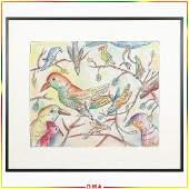 "Steven Jennis, American, ""Birds"" Pastel Painting"