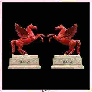 2 Cast Iron Mobil Oil Pegasus Horse Statues / Bookends