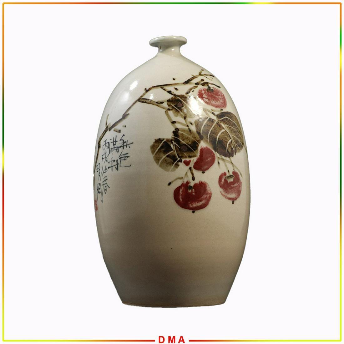 Unique Oriental Asian Porcelain Vase Cherries, Writing