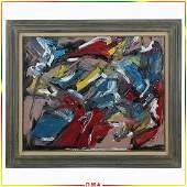 Pulgini, Mid-Century Modern Oil/b Abstract Painting