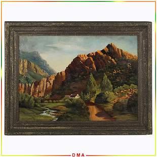 Paul Lauritz 1889-1975 California, Oil/b Mountains Land