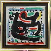 Joan Miro 1893-1983 Abstract Watercolor Signed
