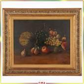 P Raito, Oil/c Vintage Still Life Painting Fruit