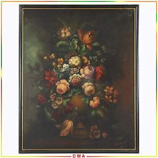Vintage Flemish Style Still Life Floral Oil Painting
