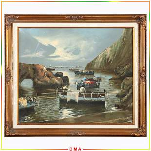 M Galavant, Vintage Oil/c Fishing Boats at Inlet Cove