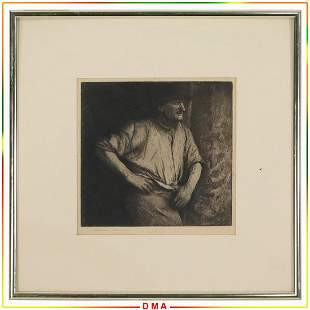 Morgan Dennis 1892-1960, Etching of a Working Man
