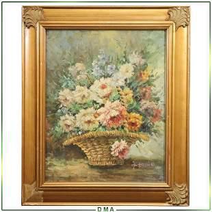 Antonio, 20th C. Impressionist Flowers in Reed Basket