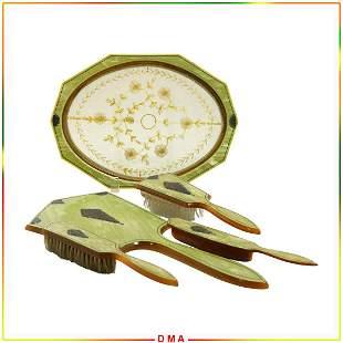 5 Pc. Circa 1920 Green Celluloid Brush & Mirror Set
