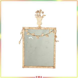 Country French Metal Framed Wall Mirror Plant Pot Crest