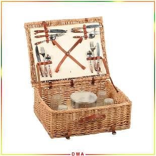 Vintage Wicker Basket Suitcase Picnic Set, All Complete