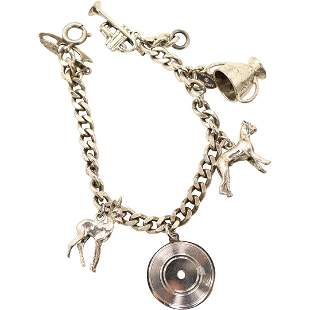 Sterling Silver Charm Bracelet with 6 Sterling Charms