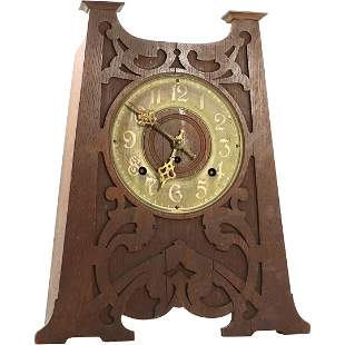 Art & Crafts Seth Thomas Zuni Mantel Clock. Carved Oak